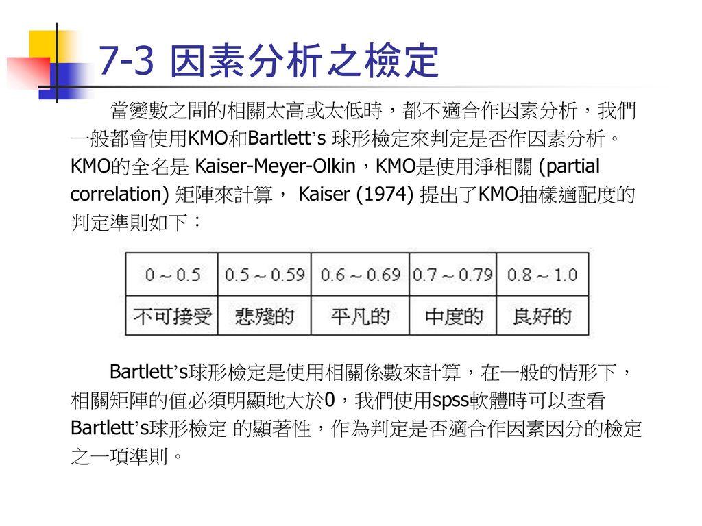 7-3 因素分析之檢定