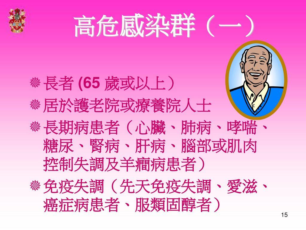 高危感染群(一) 長者 (65 歲或以上) 居於護老院或療養院人士