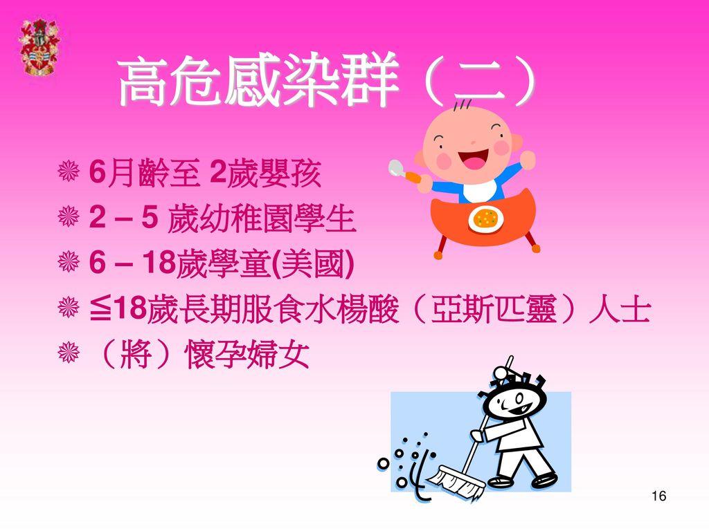 高危感染群(二) 6月齡至 2歲嬰孩 2 – 5 歲幼稚園學生 6 – 18歲學童(美國) ≦18歲長期服食水楊酸(亞斯匹靈)人士