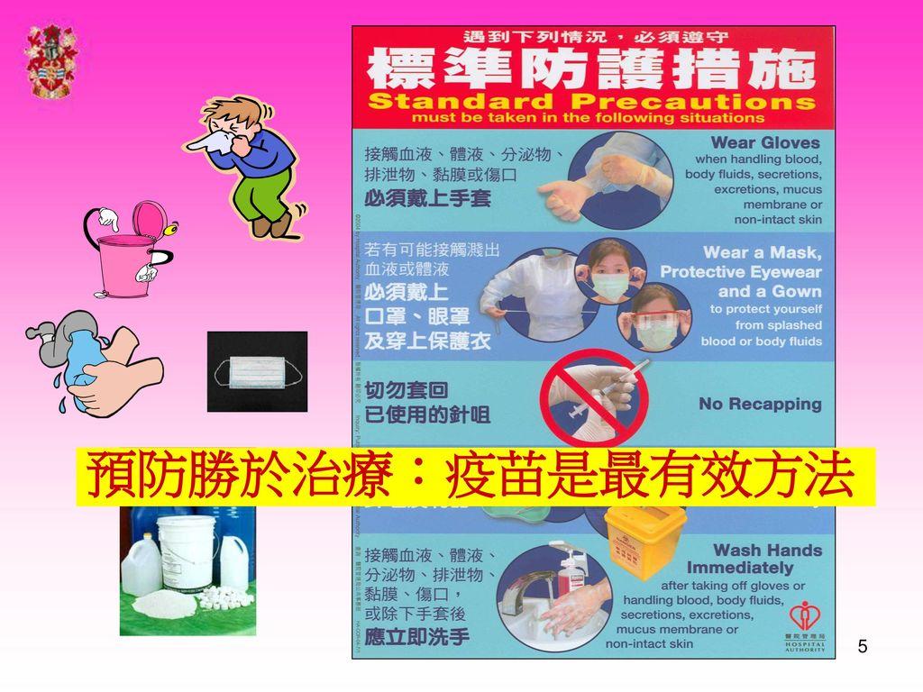預防勝於治療:疫苗是最有效方法 Message: standard protective gears of some use, but personal protection more important.