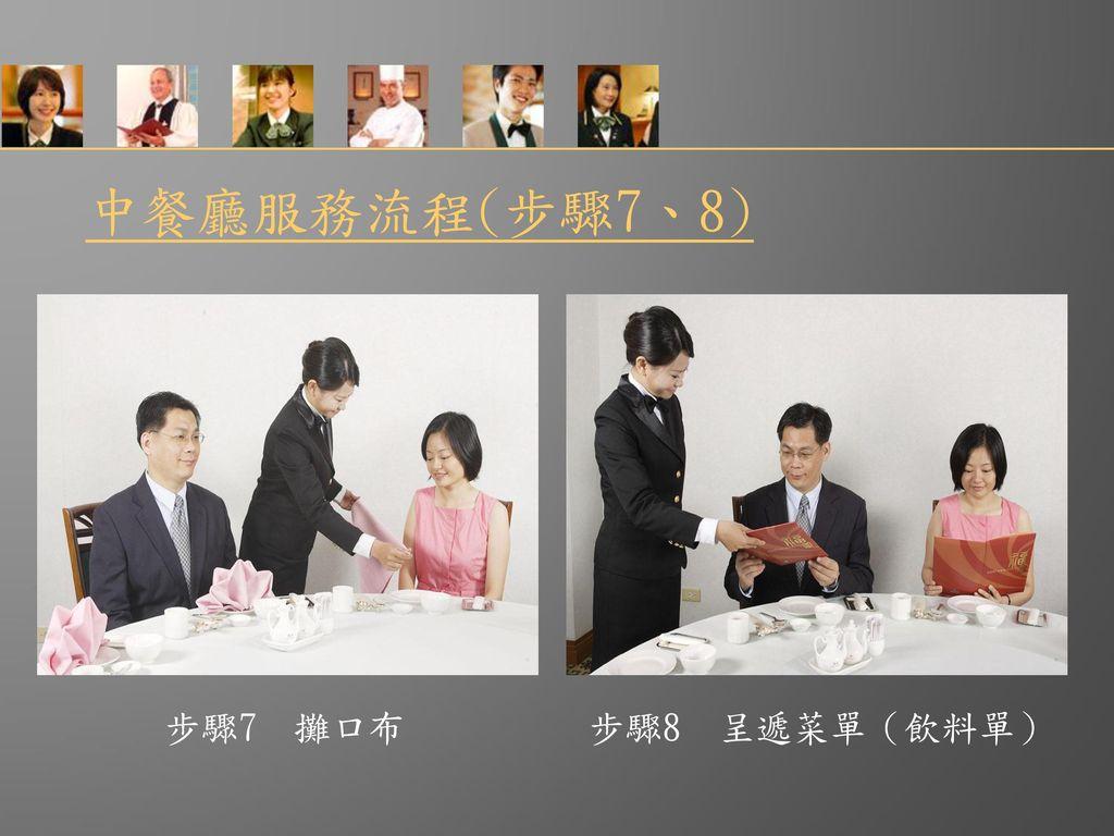中餐廳服務流程(步驟7、8) 步驟7 攤口布 步驟8 呈遞菜單(飲料單)
