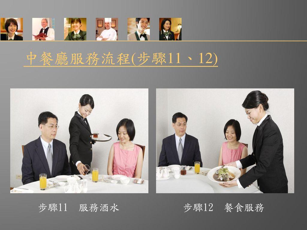 中餐廳服務流程(步驟11、12) 步驟11 服務酒水 步驟12 餐食服務