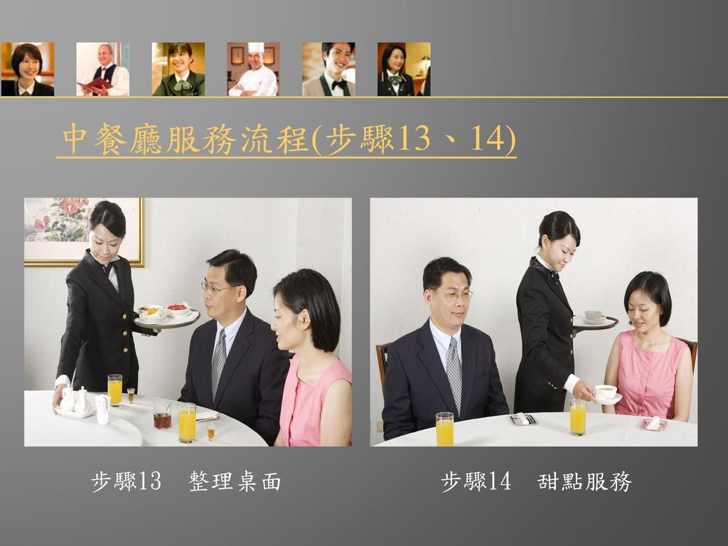 中餐廳服務流程(步驟13、14) 步驟13 整理桌面 步驟14 甜點服務