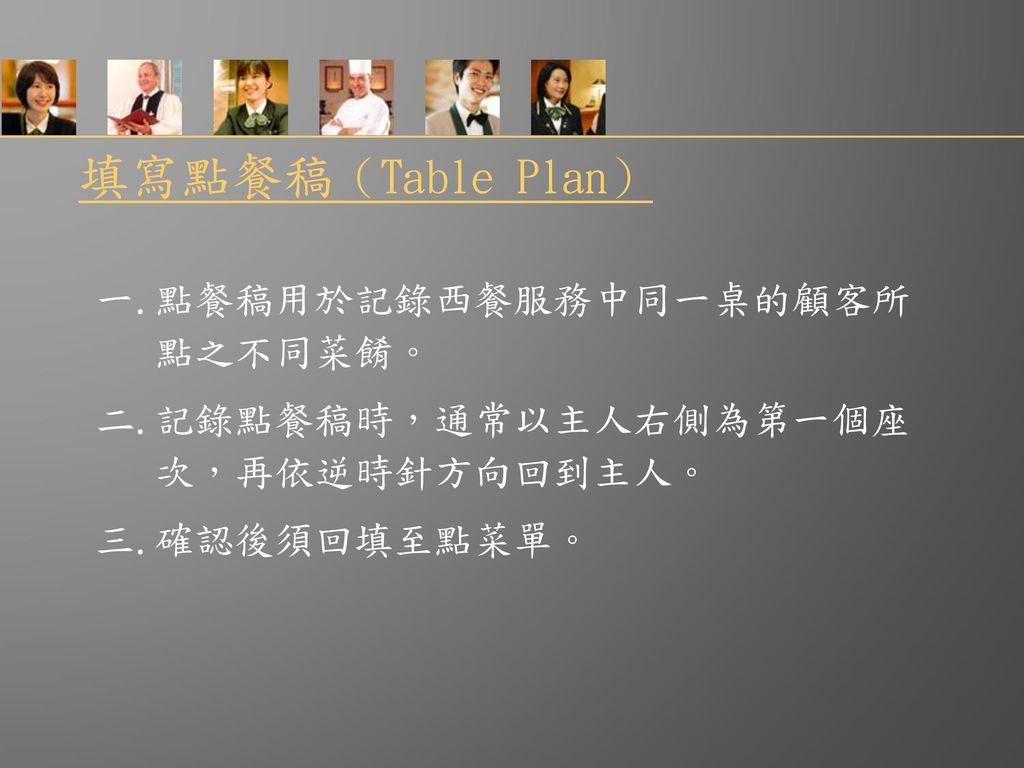 填寫點餐稿(Table Plan) 一.點餐稿用於記錄西餐服務中同一桌的顧客所 點之不同菜餚。 二.記錄點餐稿時,通常以主人右側為第一個座