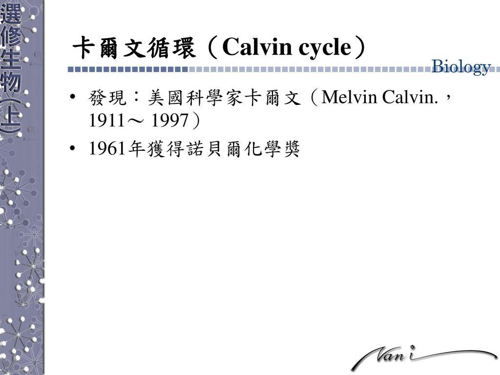 卡爾文循環(Calvin cycle) 發現:美國科學家卡爾文(Melvin Calvin., 1911~ 1997)