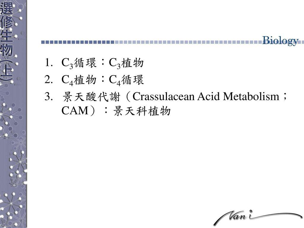C3循環:C3植物 C4植物:C4循環 景天酸代謝(Crassulacean Acid Metabolism;CAM):景天科植物