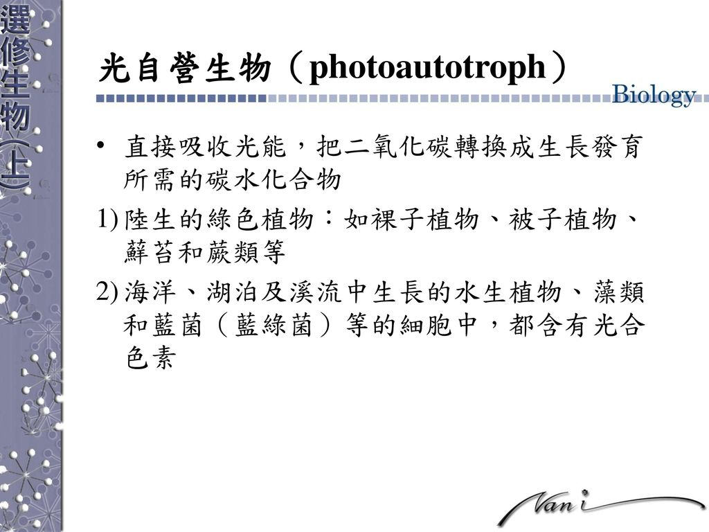 光自營生物(photoautotroph)