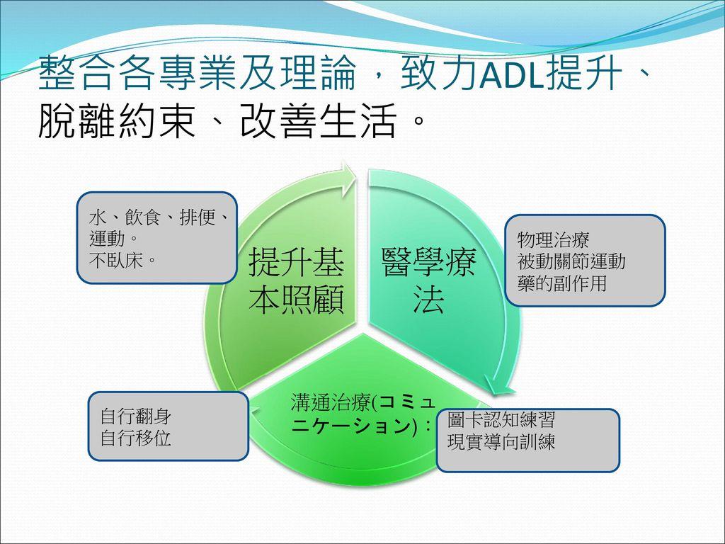 整合各專業及理論,致力ADL提升、脫離約束、改善生活。