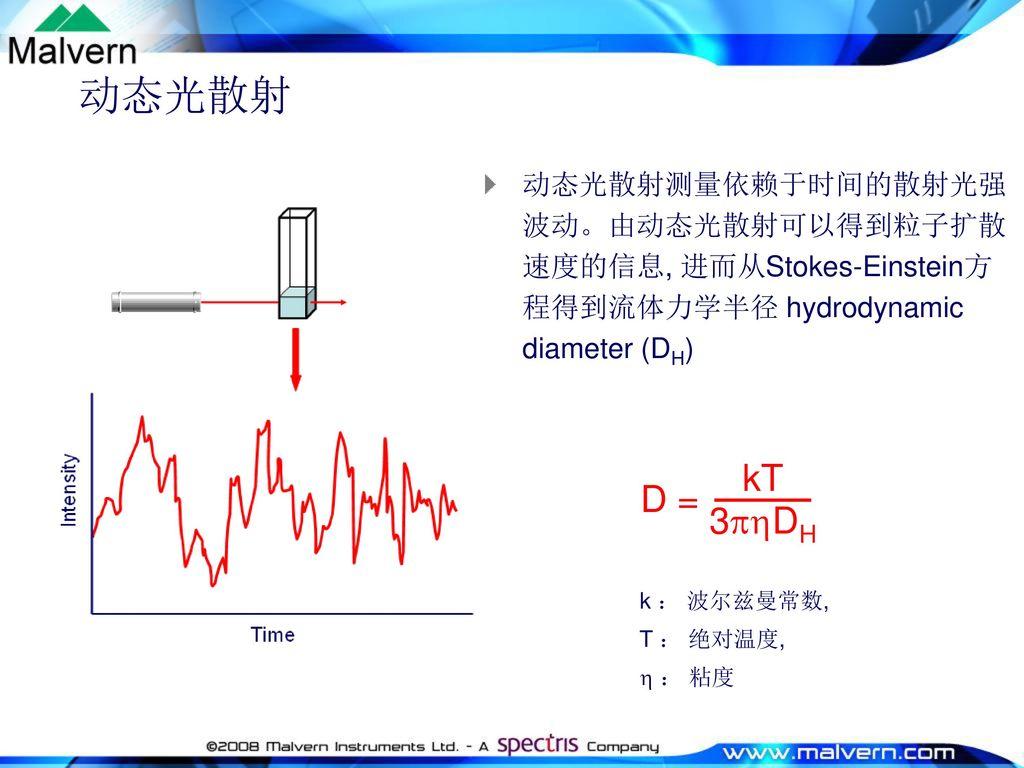 动态光散射 动态光散射测量依赖于时间的散射光强波动。由动态光散射可以得到粒子扩散速度的信息, 进而从Stokes-Einstein方程得到流体力学半径 hydrodynamic diameter (DH)