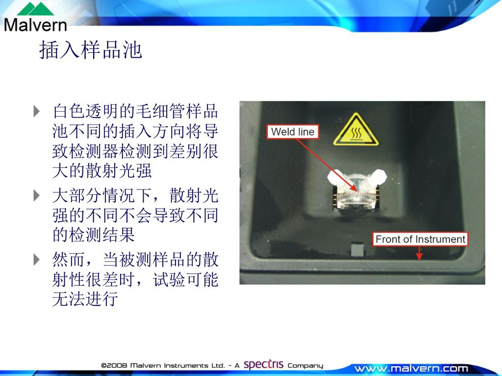插入样品池 白色透明的毛细管样品池不同的插入方向将导致检测器检测到差别很大的散射光强 大部分情况下,散射光强的不同不会导致不同的检测结果