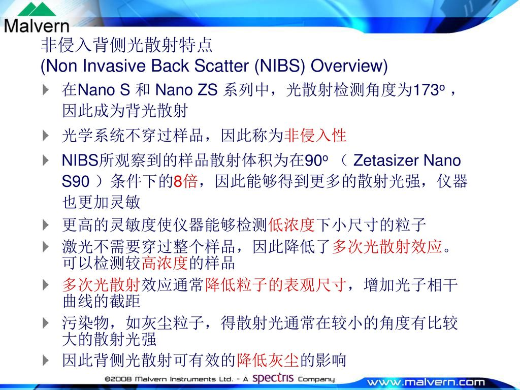 非侵入背侧光散射特点 (Non Invasive Back Scatter (NIBS) Overview)