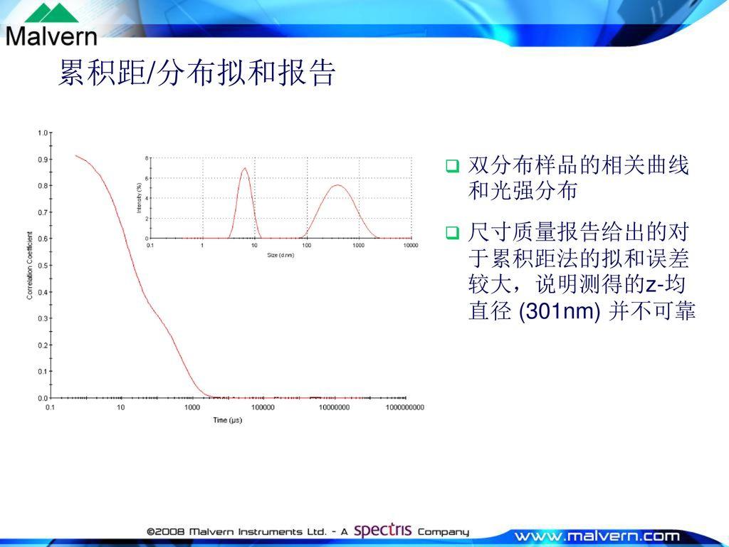 累积距/分布拟和报告 双分布样品的相关曲线和光强分布