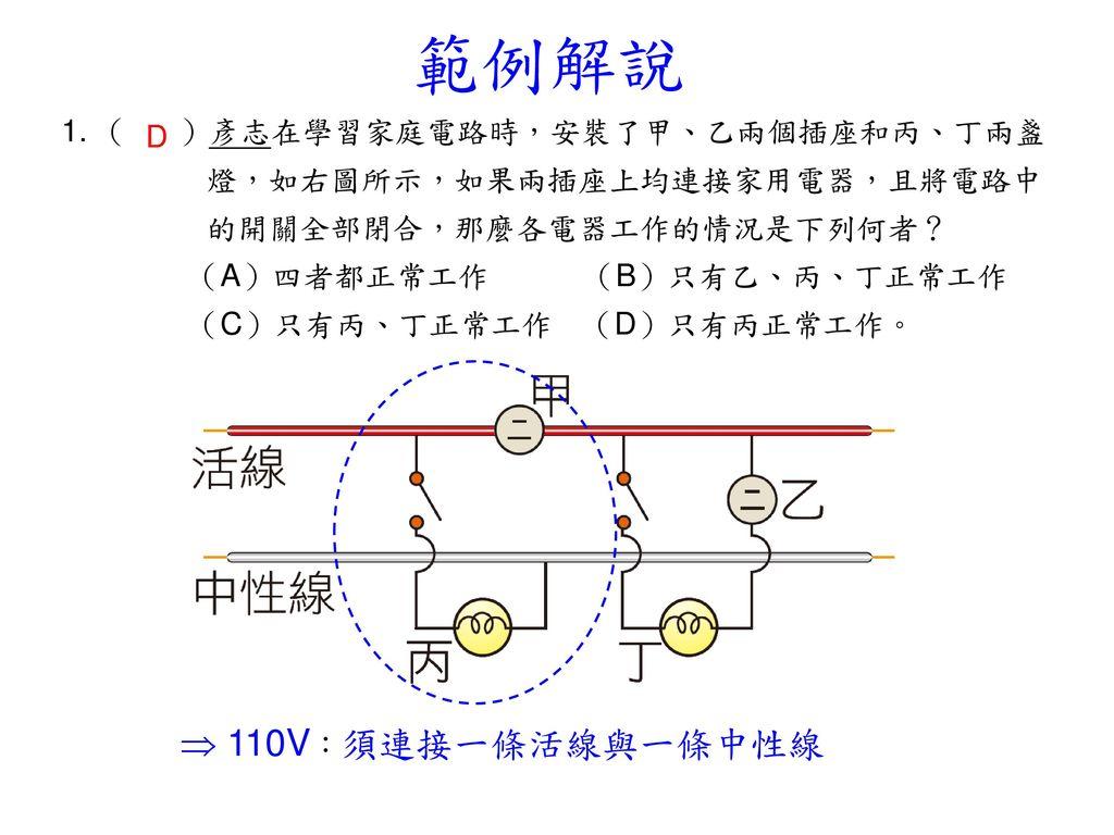 範例解說  110V:須連接一條活線與一條中性線