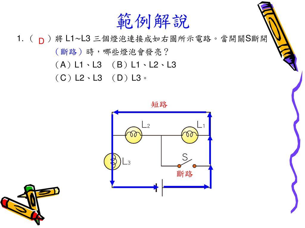 範例解說 1. ( )將 L1∼L3 三個燈泡連接成如右圖所示電路。當開關S斷開 (斷路)時,哪些燈泡會發亮? D