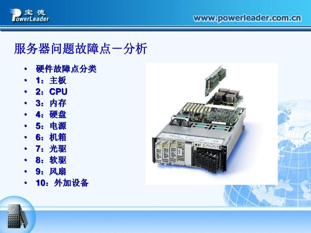 服务器问题故障点-分析 硬件故障点分类 1:主板 2:CPU 3:内存 4:硬盘 5:电源 6:机箱 7:光驱 8:软驱 9:风扇