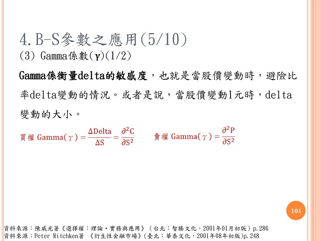 4.B-S參數之應用(5/10) (3) Gamma係數( )(1/2) Gamma係衡量delta的敏感度,也就是當股價變動時,避險比 率delta變動的情況。或者是說,當股價變動1元時,delta 變動的大小。