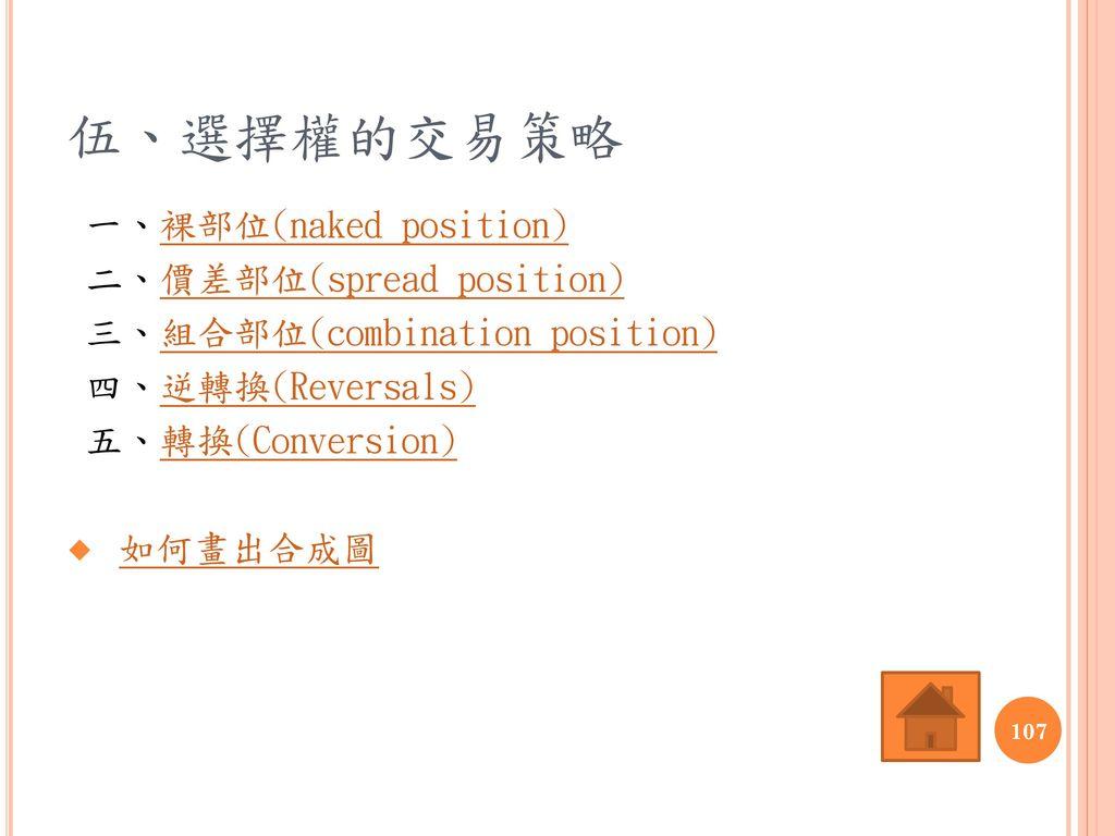 伍、選擇權的交易策略 一、裸部位(naked position) 二、價差部位(spread position)