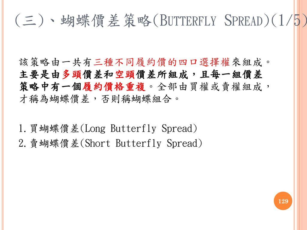(三)、蝴蝶價差策略(Butterfly Spread)(1/5)