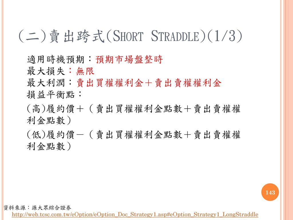 (二)賣出跨式(Short Straddle)(1/3)