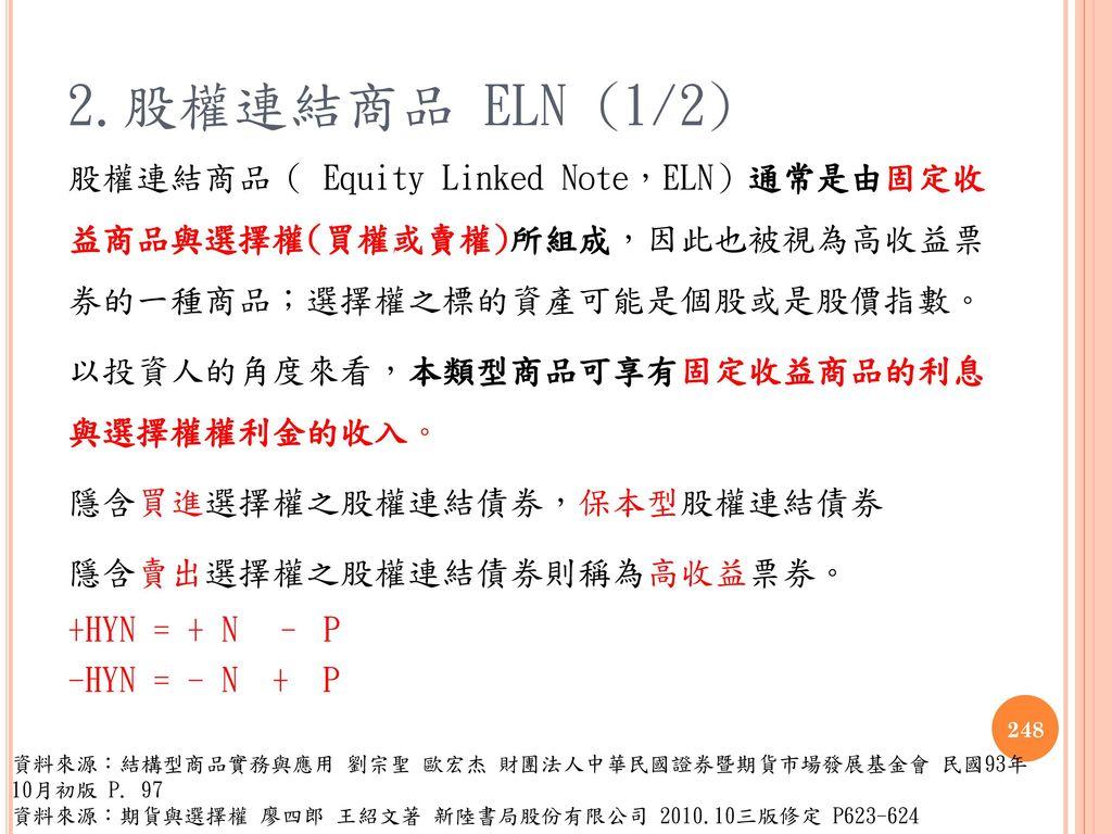 2.股權連結商品 ELN (1/2)