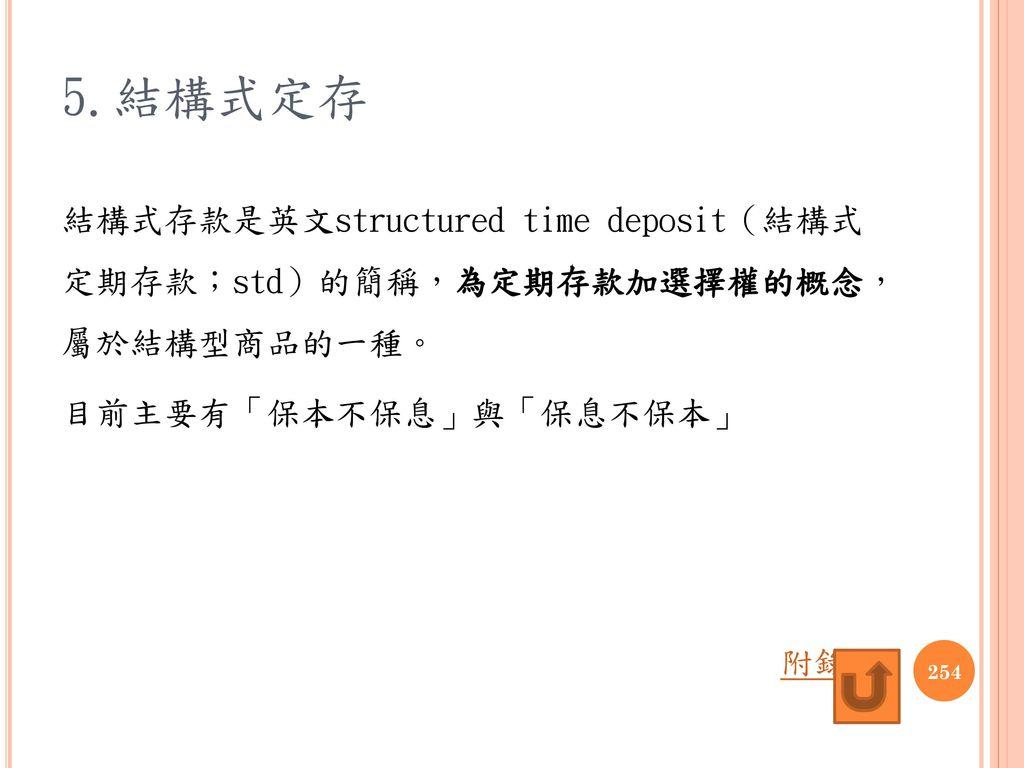 5.結構式定存 結構式存款是英文structured time deposit(結構式 定期存款;std)的簡稱,為定期存款加選擇權的概念, 屬於結構型商品的一種。 目前主要有「保本不保息」與「保息不保本」