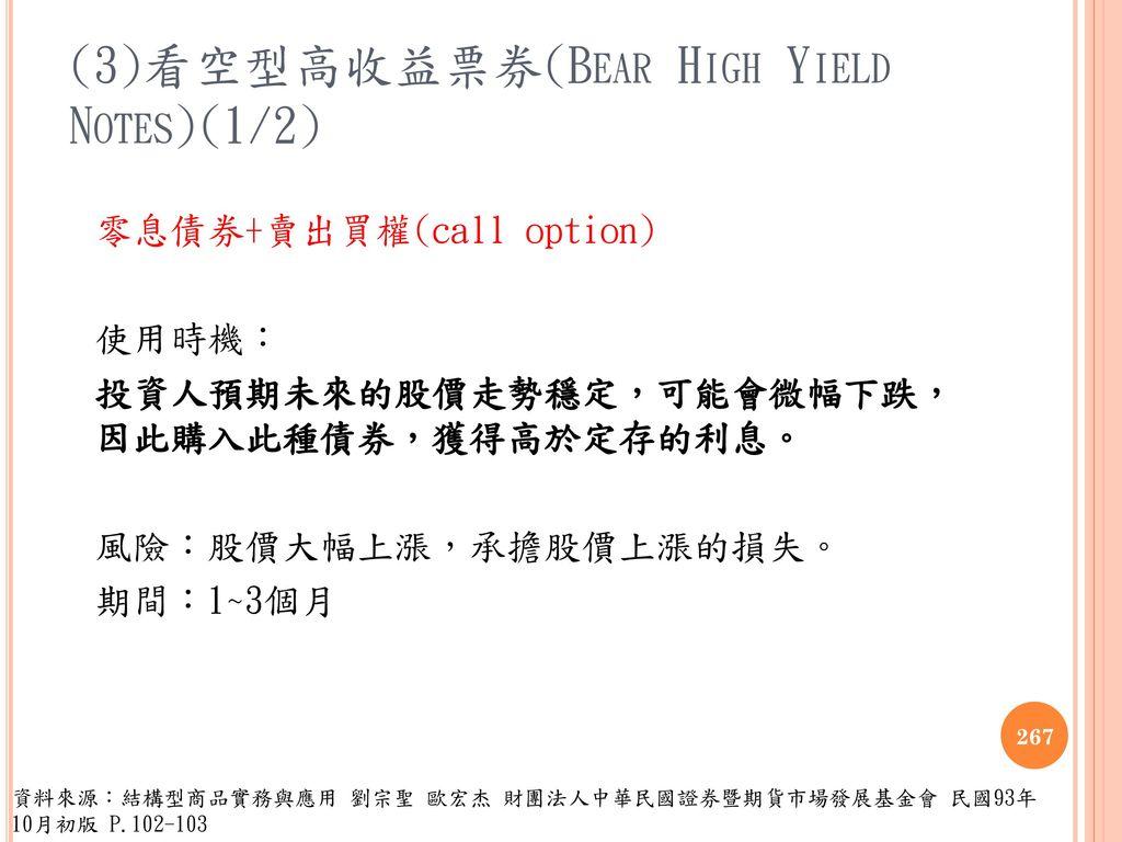 (3)看空型高收益票券(Bear High Yield Notes)(1/2)