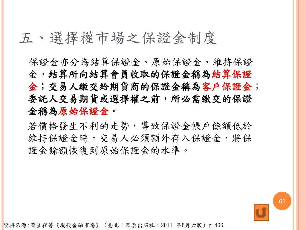 五、選擇權市場之保證金制度