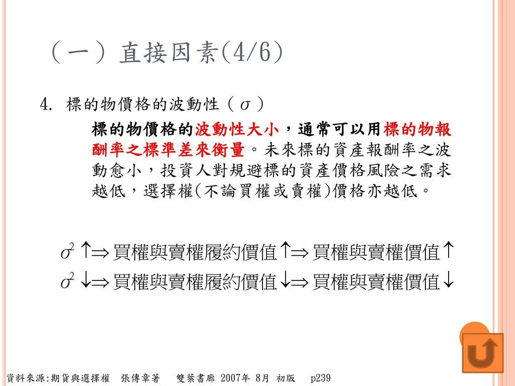 (一)直接因素(4/6) 4. 標的物價格的波動性(σ)