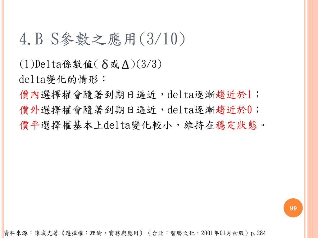 4.B-S參數之應用(3/10) (1)Delta係數值( 或 )(3/3) delta變化的情形: