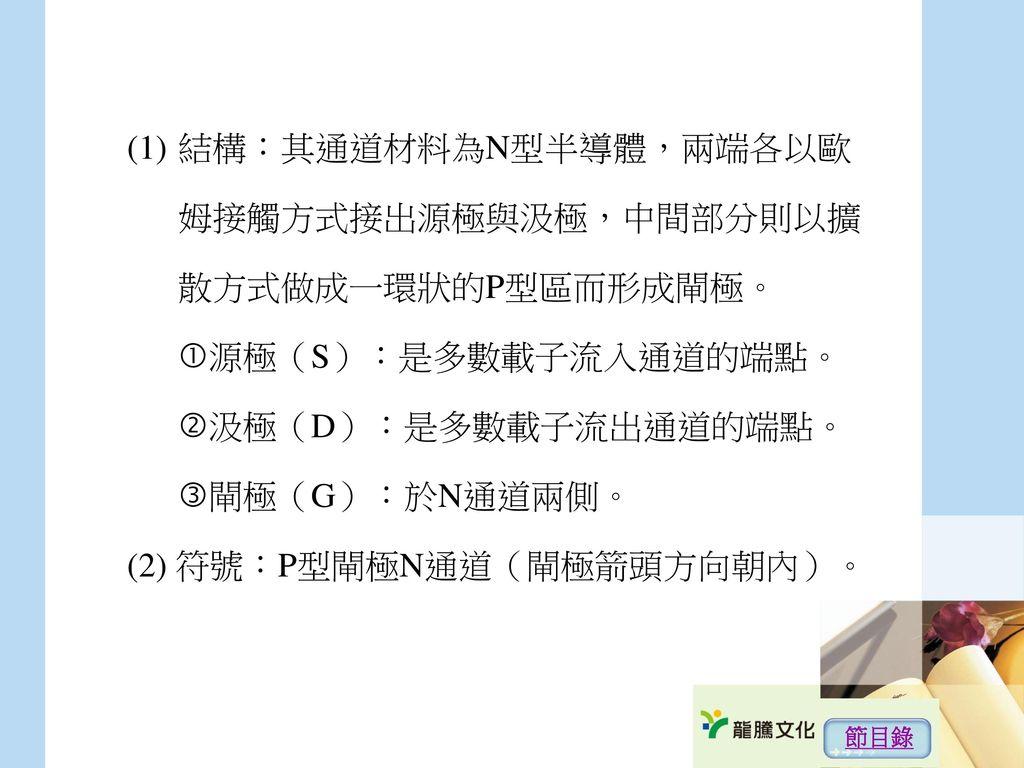 (2) 符號:P型閘極N通道(閘極箭頭方向朝內)。