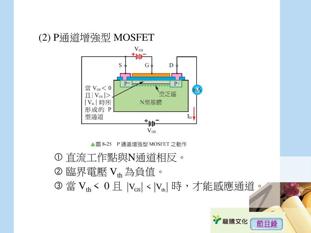 (2) P通道增強型 MOSFET  直流工作點與N通道相反。  臨界電壓 Vth 為負值。