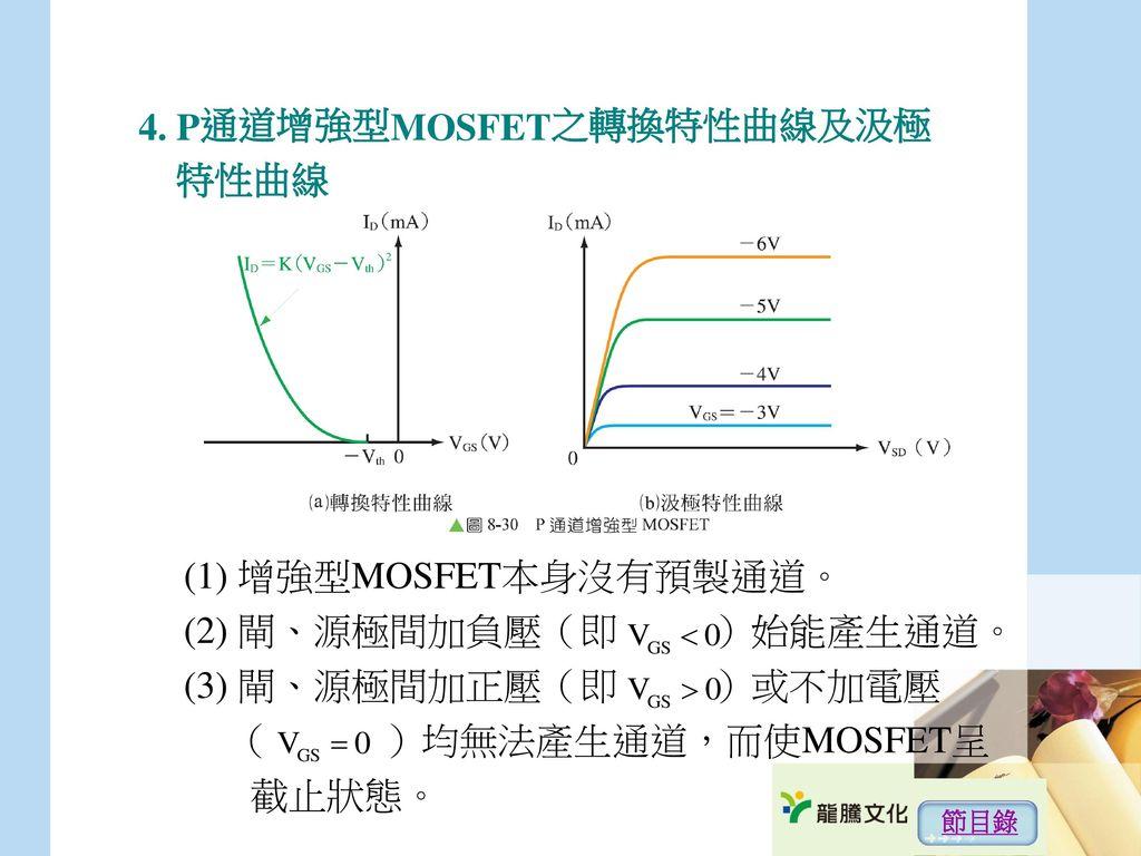 4. P通道增強型MOSFET之轉換特性曲線及汲極 特性曲線