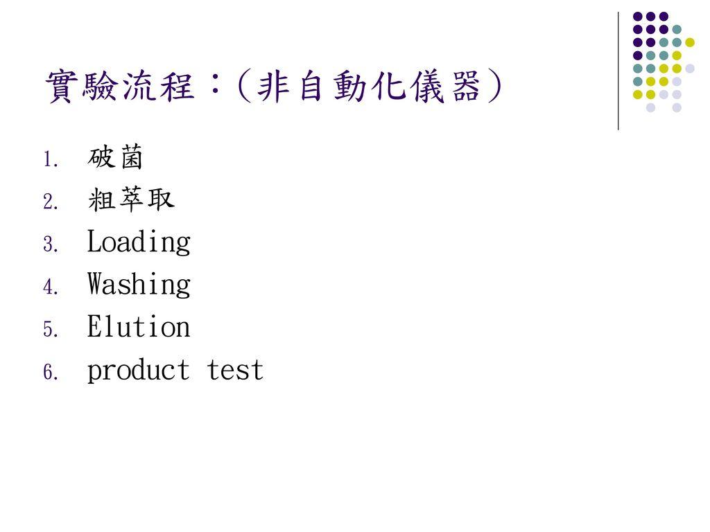實驗流程:(非自動化儀器) 破菌 粗萃取 Loading Washing Elution product test