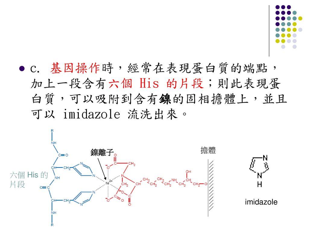 c. 基因操作時,經常在表現蛋白質的端點,加上一段含有六個 His 的片段;則此表現蛋白質,可以吸附到含有鎳的固相擔體上,並且可以 imidazole 流洗出來。