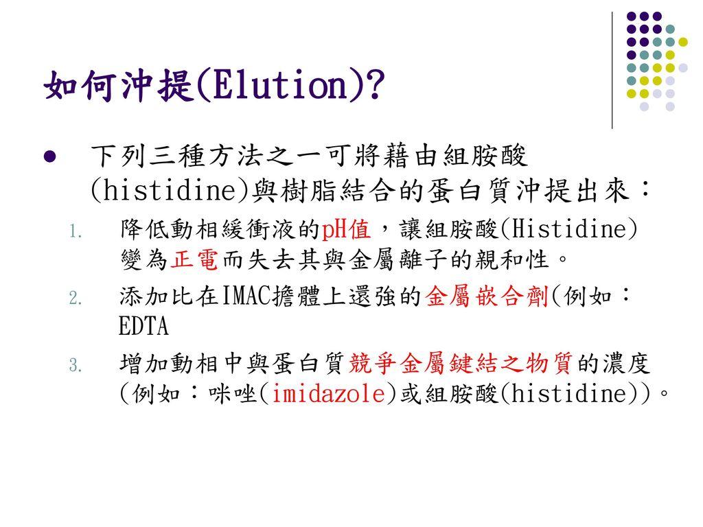 如何沖提(Elution) 下列三種方法之一可將藉由組胺酸 (histidine)與樹脂結合的蛋白質沖提出來: