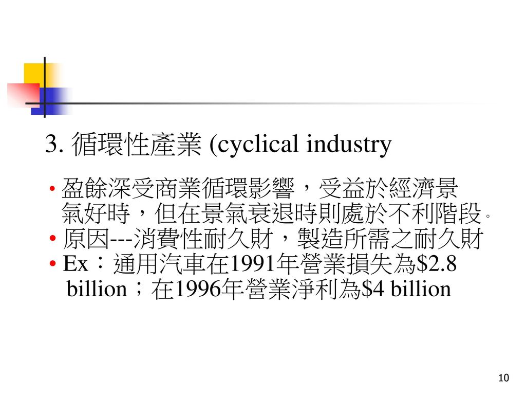 3. 循環性產業 (cyclical industry