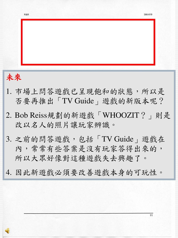 未來 市場上問答遊戲已呈現飽和的狀態,所以是否要再推出「TV Guide」遊戲的新版本呢? Bob Reiss規劃的新遊戲「WHOOZIT?」則是改以名人的照片讓玩家辨識。 之前的問答遊戲,包括「TV Guide」遊戲在內,常常有些答案是沒有玩家答得出來的,所以大眾好像對這種遊戲失去興趣了。