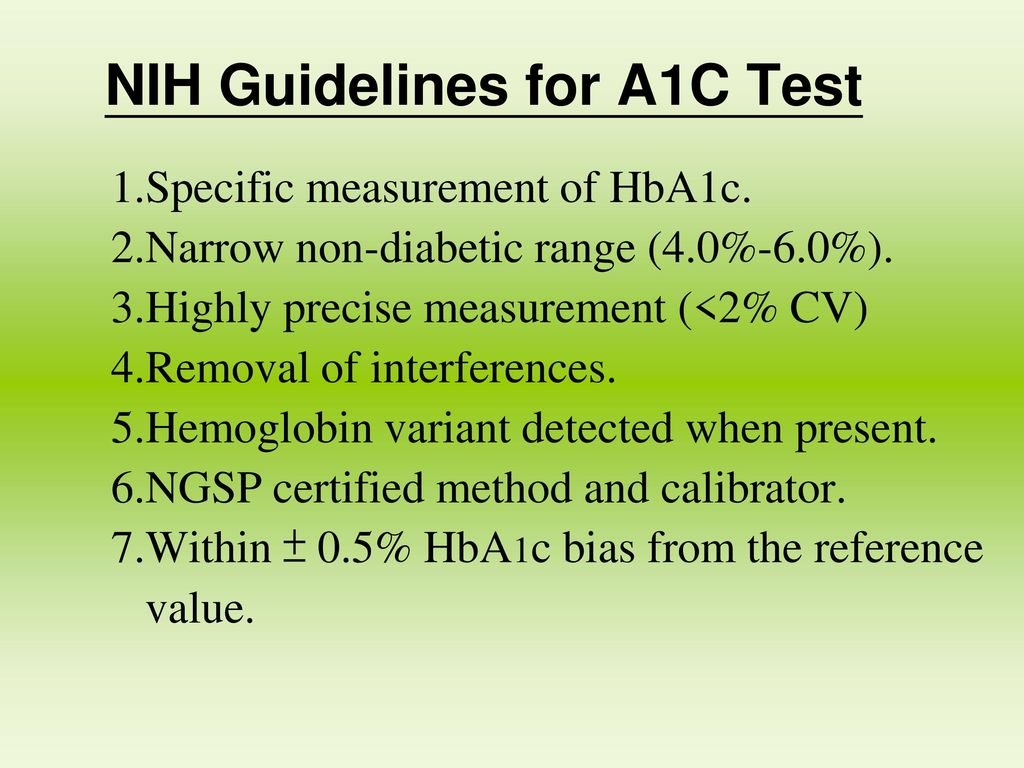 NIH Guidelines for A1C Test