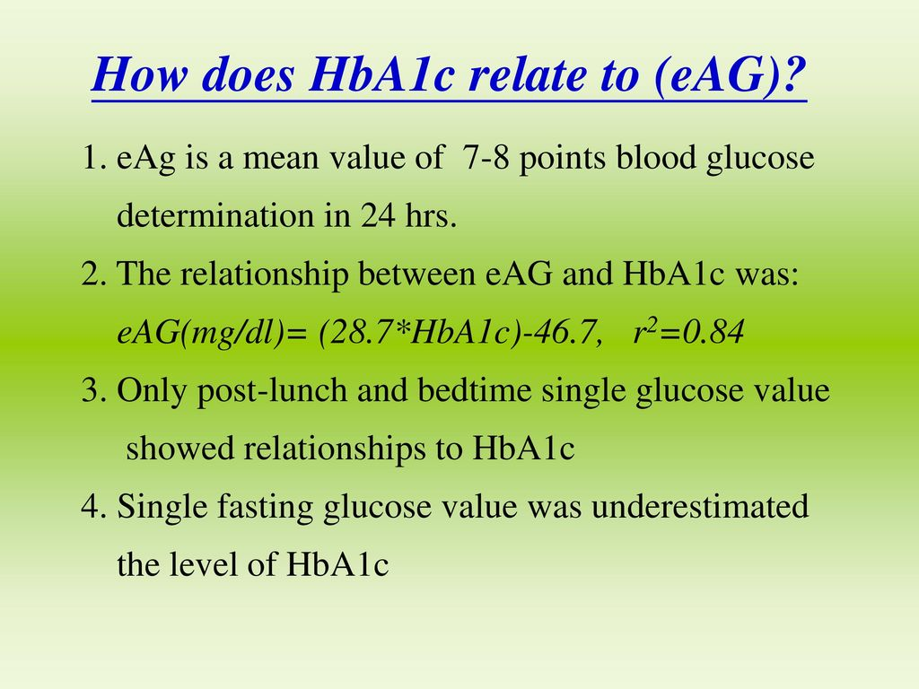 How does HbA1c relate to (eAG)