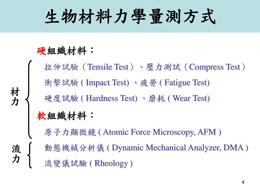 生物材料力學量測方式 硬組織材料: 軟組織材料: 材力 流力 拉伸試驗(Tensile Test)、壓力測試(Compress Test)