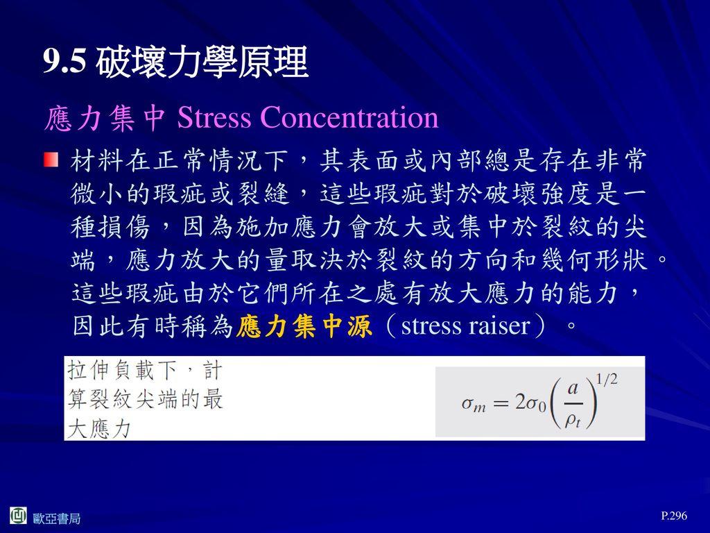 9.5 破壞力學原理 應力集中 Stress Concentration