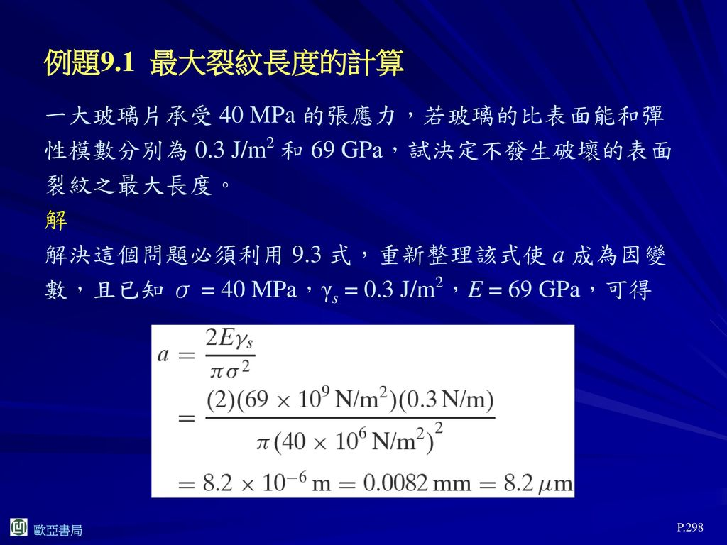 例題9.1 最大裂紋長度的計算 一大玻璃片承受 40 MPa 的張應力,若玻璃的比表面能和彈