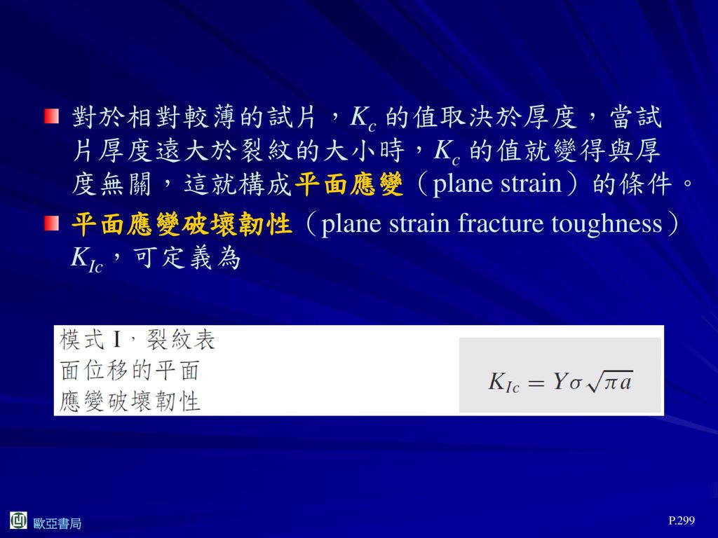平面應變破壞韌性(plane strain fracture toughness)KIc,可定義為