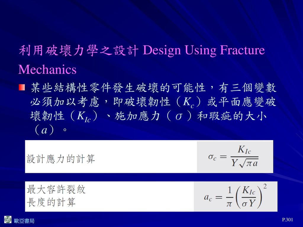 利用破壞力學之設計 Design Using Fracture Mechanics