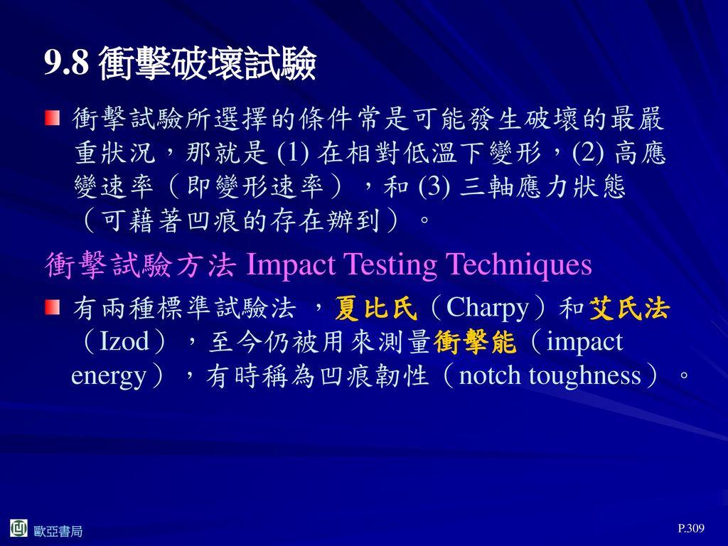 9.8 衝擊破壞試驗 衝擊試驗方法 Impact Testing Techniques