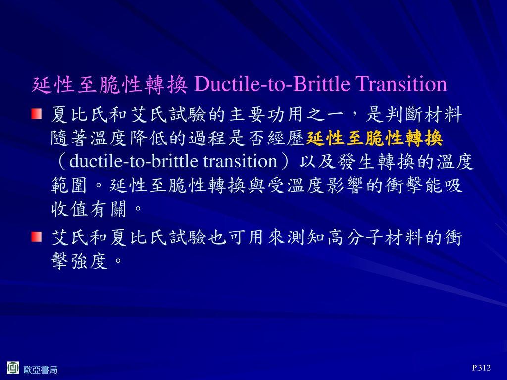 延性至脆性轉換 Ductile-to-Brittle Transition