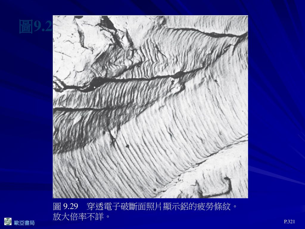 圖9.29 圖 9.29 穿透電子破斷面照片顯示鋁的疲勞條紋。放大倍率不詳。 P.321