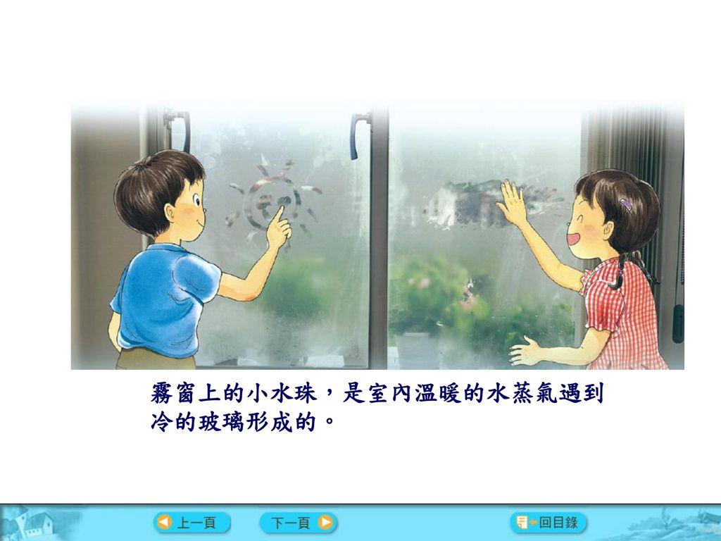 霧窗上的小水珠,是室內溫暖的水蒸氣遇到 冷的玻璃形成的。