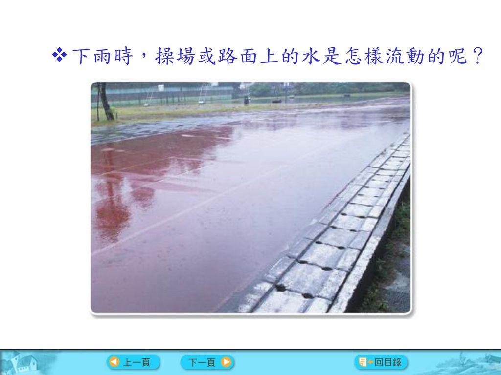 下雨時,操場或路面上的水是怎樣流動的呢?