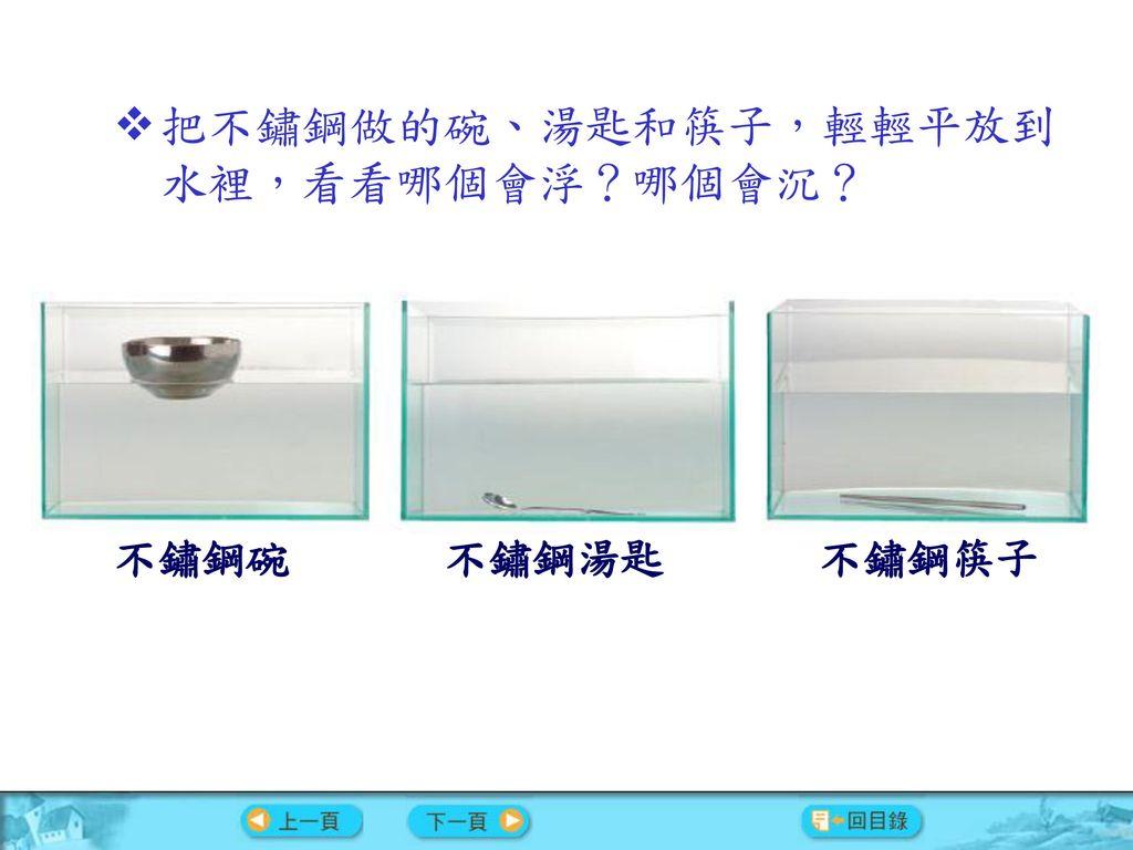 把不鏽鋼做的碗、湯匙和筷子,輕輕平放到水裡,看看哪個會浮?哪個會沉?